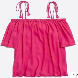 J.CREW Hot Pink Berry Cold Shoulder tassel tie top
